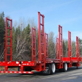 Tall red forestry trailer
