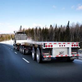 Trailer on snowy highway